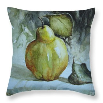 Throw Pillow featuring the painting Quince... by Elena Oleniuc