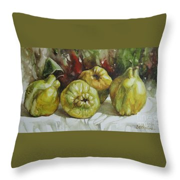 Throw Pillow featuring the painting Quinces by Elena Oleniuc