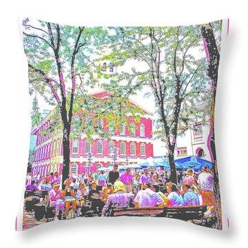 Quincy Market, Boston Massachusetts, Poster Image Throw Pillow