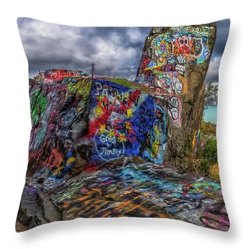 Quincy Quarries Graffiti Throw Pillow
