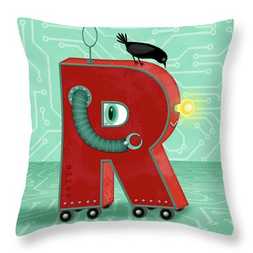 R Is For Robot Throw Pillow