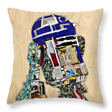 Throw Pillow featuring the tapestry - textile R2-d2 Star Wars Afrofuturist Collection by Apanaki Temitayo M