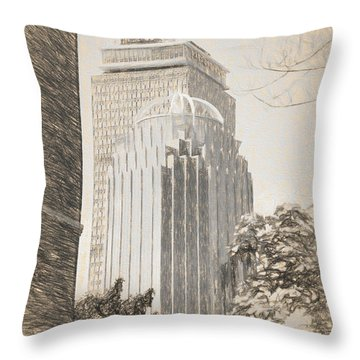 R2d2 Building And The Prudential Center Throw Pillow