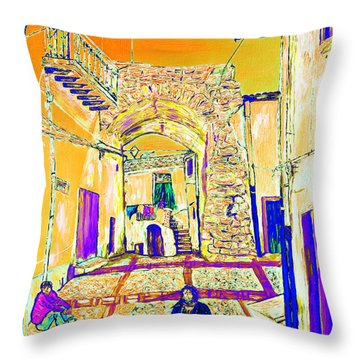 Throw Pillow featuring the painting Rabato  by Loredana Messina
