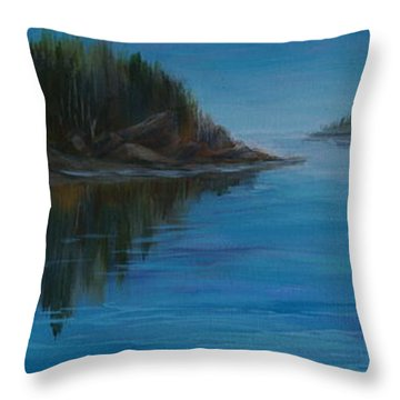 Rabbit Blanket Lake Throw Pillow by Joanne Smoley