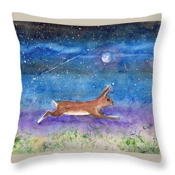 Rabbit Crossing The Galaxy Throw Pillow
