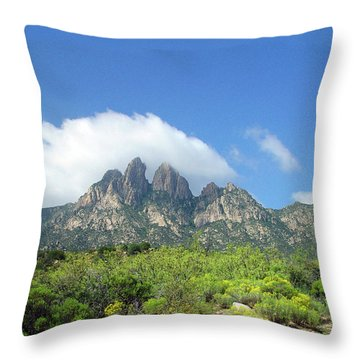 Throw Pillow featuring the photograph  Organ Mountains Rabbit Ears by Jack Pumphrey