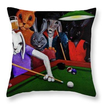 Rabbit Games Throw Pillow