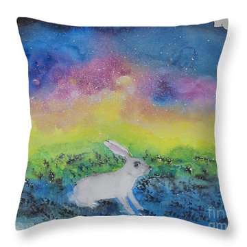 Rabbit In Galaxy 5 Throw Pillow