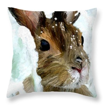 Rabbit In Snow Throw Pillow