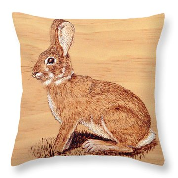 Throw Pillow featuring the pyrography Rabbit by Ron Haist