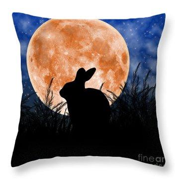 Rabbit Under The Harvest Moon Throw Pillow by Elizabeth Alexander