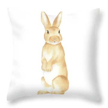 Throw Pillow featuring the painting Rabbit Watercolor by Taylan Apukovska