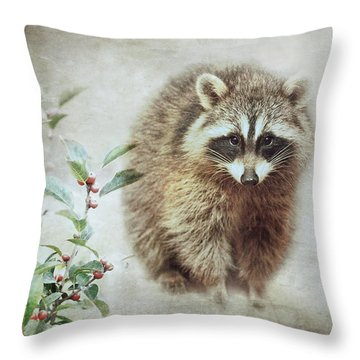 Raccoon In Winterberry Throw Pillow