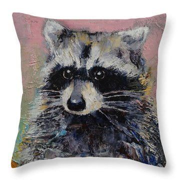 Raccoon Throw Pillow by Michael Creese