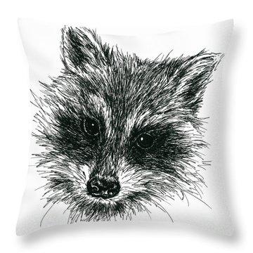 Raccoon Portrait In Ink Throw Pillow
