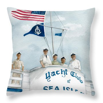Throw Pillow featuring the painting Race Committee  by Nancy Patterson