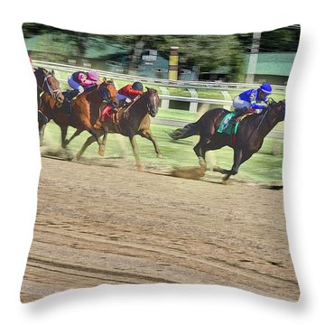 Race Horses In Motion Throw Pillow