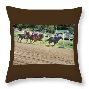 Throw Pillow featuring the digital art Race Horses In Motion by Lise Winne