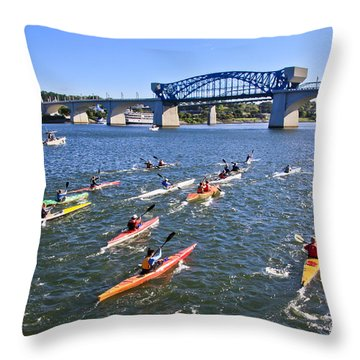 Race On The River Throw Pillow