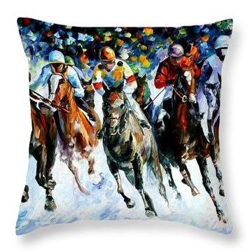 Race On The Snow Throw Pillow by Leonid Afremov