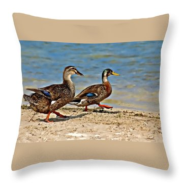Race You To The Water Throw Pillow by Carolyn Marshall