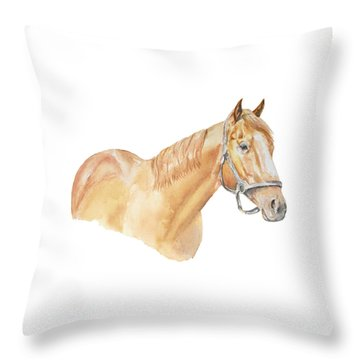 Throw Pillow featuring the painting Racehorse by Elizabeth Lock