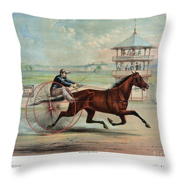 Racehorse: Goldsmith Maid Throw Pillow by Granger