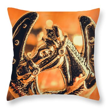 Racehorse Luck Throw Pillow