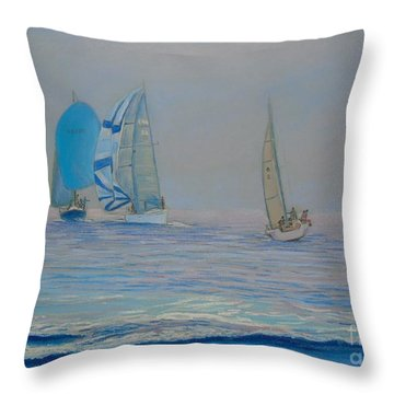 Raceing In The Fog Throw Pillow