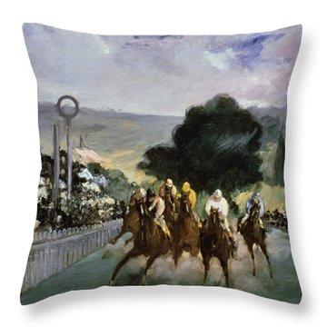 Races At Longchamp Throw Pillow by Edouard Manet