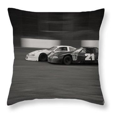 Racing At The Speedway Throw Pillow
