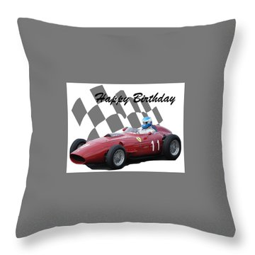 Racing Car Birthday Card 2 Throw Pillow by John Colley