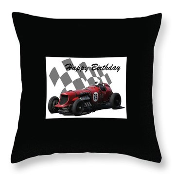 Racing Car Birthday Card 3 Throw Pillow