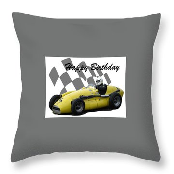 Racing Car Birthday Card 4 Throw Pillow