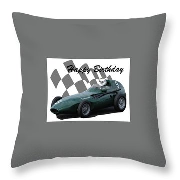Racing Car Birthday Card 5 Throw Pillow