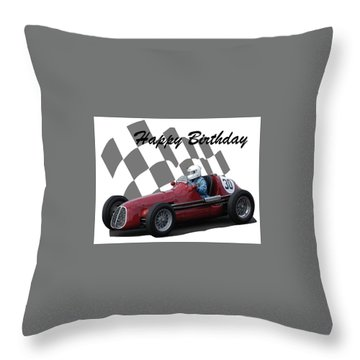 Racing Car Birthday Card 6 Throw Pillow