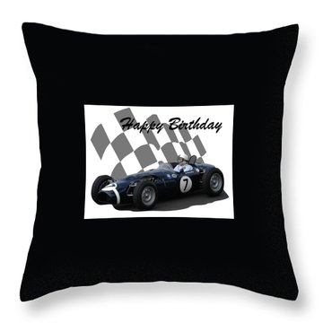 Racing Car Birthday Card 8 Throw Pillow