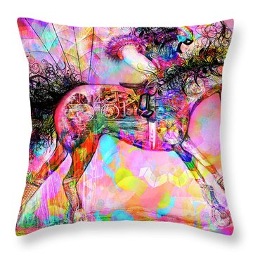 Throw Pillow featuring the digital art Racing For Time by Kari Nanstad