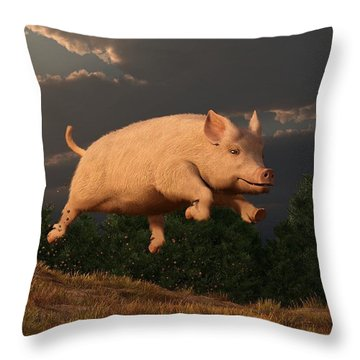 Racing Pig Throw Pillow by Daniel Eskridge