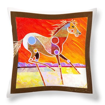 Throw Pillow featuring the painting Racing The Desert by Bob Coonts