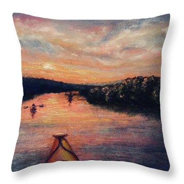Racing The Sunset Throw Pillow