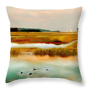 Racing The Tide Throw Pillow