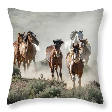 Racing To The Water Hole Throw Pillow