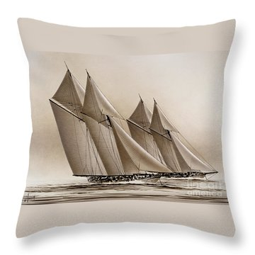 Racing Yachts Throw Pillow by James Williamson