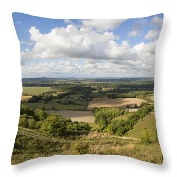 Rackham Hill To The North Downs Throw Pillow by Hazy Apple