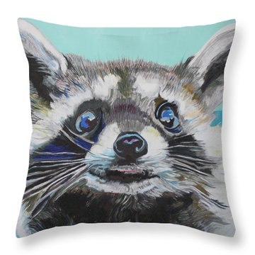 Racoon Throw Pillow by Jamie Downs