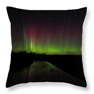 Red And Green Aurora Pillars Throw Pillow
