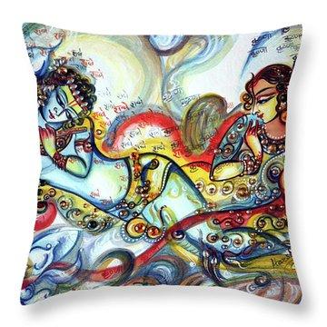 Radha Krishna - Flute - Love Throw Pillow