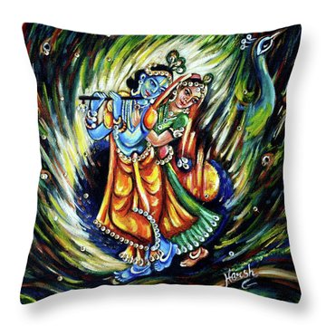 Throw Pillow featuring the painting Radhe Krishna by Harsh Malik